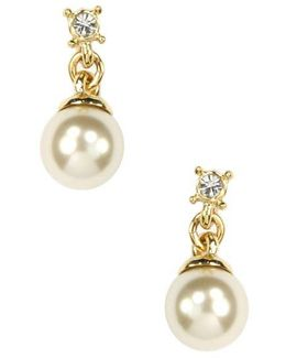 Gold Plated Crystal And Faux Pearl Drop Earrings