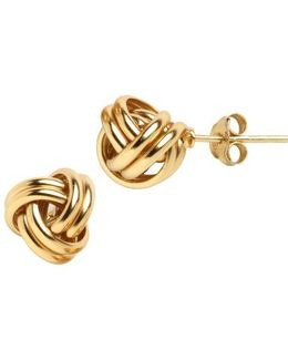 18k Gold Over Sterling Silver Knot Stud Earrings