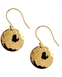 18 Kt Gold Over Sterling Silver Hammered Disc Drop Earrings