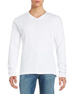 Ribbed Cotton V-neck Shirt