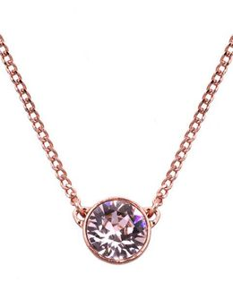 Rose Gold And Swarovski Crystal Pendant Necklace