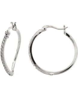 Sterling Silver And Cubic Zirconia Sculpted Hoop Earrings