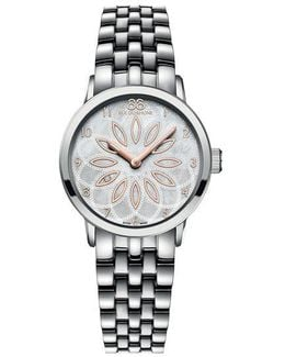Ladies' Stainless Steel Watch With Mother Of Pearl Rosette Dial