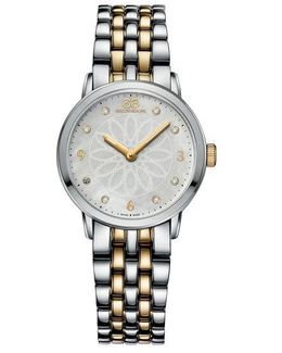 Ladies Two-tone Watch With Mother Of Pearl Rosette Dial