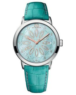 Ladies Stainless Steel And Pearlized Blue Watch With Leather Strap