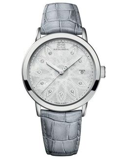 Ladies Stainless Steel And Pearlized Gray Watch With Diamonds