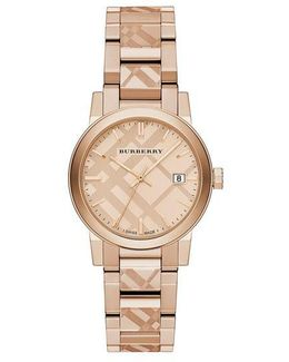 Rose Goldtone Ip Stainless Steel Check Etched Bracelet Watch/34mm