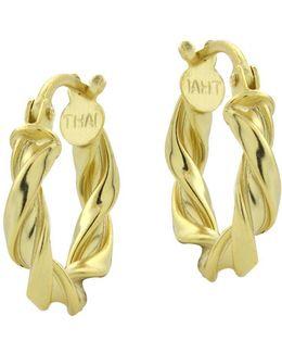 18kt Gold Swirled Hoop Earrings