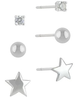 Sterling Silver And Cubic Zirconia Stud Earring Set