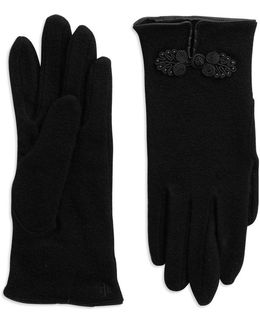 Rosette Wool-blend Gloves