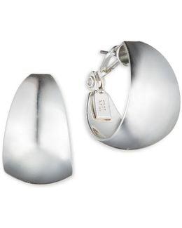 Silvertone Wide Hoop Earrings
