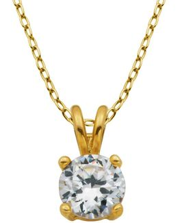 18k Goldplated Cubic Zirconia Pendant Necklace