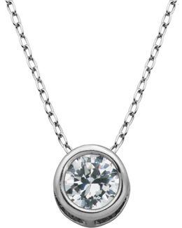 Cubic Zirconia Bezel Pendant Necklace