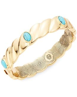 Faux Turquoise-accented Scalloped Bangle