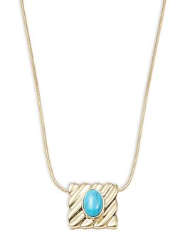 Stone-accented Square Pendant Necklace