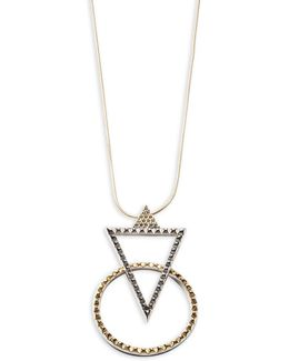 Crystal Pave Geometric Pendant Two-tone Necklace