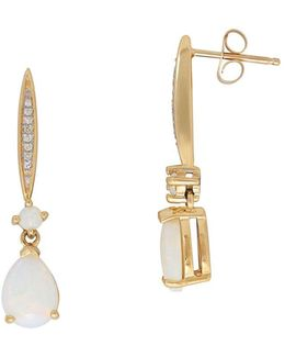 Diamonds, Opal And 14k Yellow Gold Drop Earrings