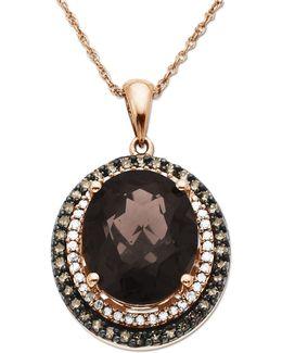 Diamonds, Smokey Quartz And 14k Rose Gold Pendant Necklace