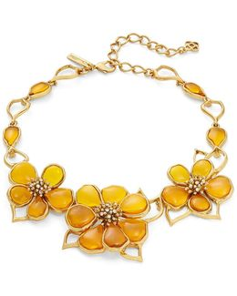 Crystal And Cobochon Flower Collar Necklace