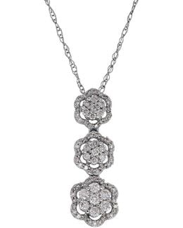 0.5 Tcw Diamonds And White Gold Tiered Pendant Necklace