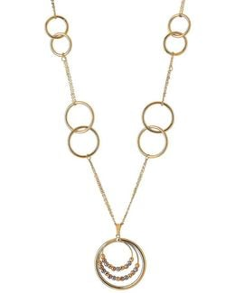 14k Yellow Gold Circle Linked Pendant Necklace