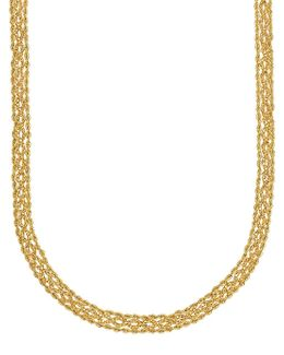 14k Yellow Gold Popcorn & Rope Chain Necklace