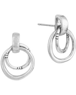 Silvertone Double-ring Drop Earrings