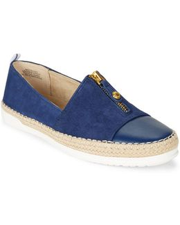 Zipdown Suede And Leather Espadrille Slip-ons