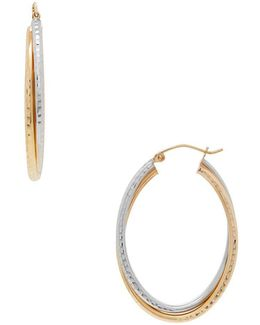 14k Yellow Gold And 14k White Gold Oval Crossover Hoop Earrings