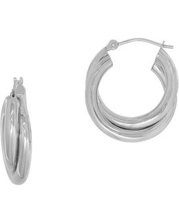 14k White Gold Double Tube Hoop Earrings