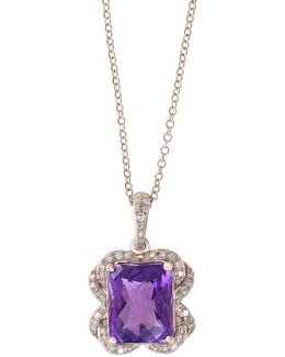 Viola Amethyst, Diamond And 14k Rose Gold Pendant Necklace