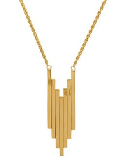 14k Yellow Gold Seven Stick Pendant & Rope Chain Necklace