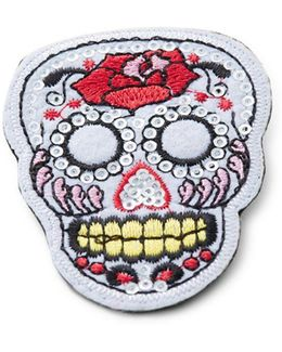 Sequined Skull Patch Pin