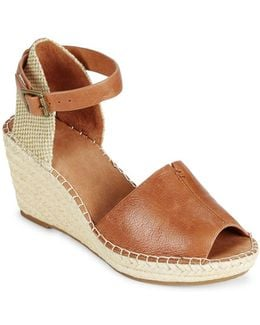 Charli Leather Espadrille Wedge Sandals