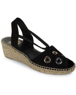 Delicate Grommet Accented Leather Espadrilles Slingback Sandals
