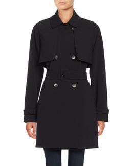 Popover Double-breasted Trench Coat