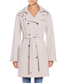 Petite? Hooded Double-breasted Trench Coat