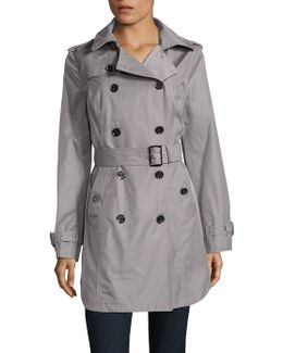 Belted And Hooded Trench Coat