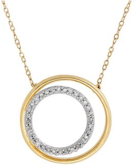 Diamonds And 14k Yellow Gold Nested Circle Pendant Necklace