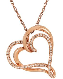 Diamonds And 14k Rose Gold Interlocked Heart Pendant Necklace
