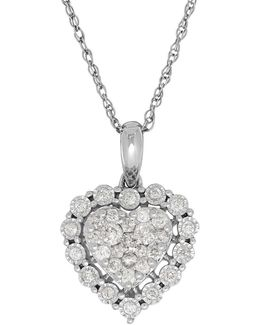 0.50 Tcw Diamonds And 14k White Gold Heart Pendant Necklace