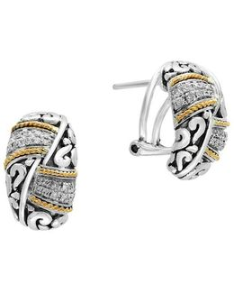 Diamond, Sterling Silver And 18k Yellow Gold Earrings, 0.17 Tcw