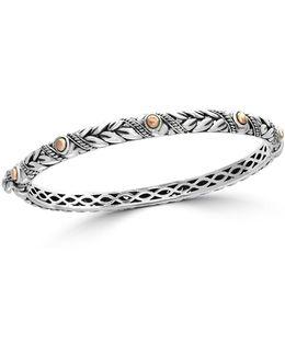 18k Rose Gold And Sterling Silver Bangle Bracelet