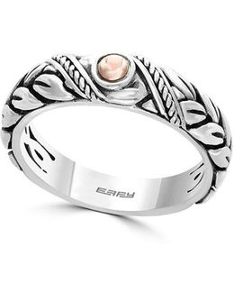18k Rose Gold Accented Sterling Silver Ring