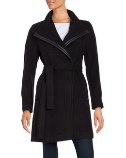 Petite Wool Wrap Trench Coat
