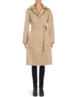 Solid Single-breasted Trench Coat
