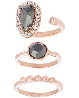 Nes Jewelry Hematite, Crystal, 18k Rose Gold And Sterling Silver Oval, Round And Polished Triple Ring Set