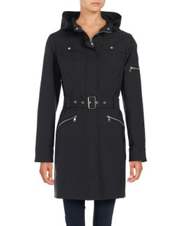 ?zip Up Hooded Trench Coat