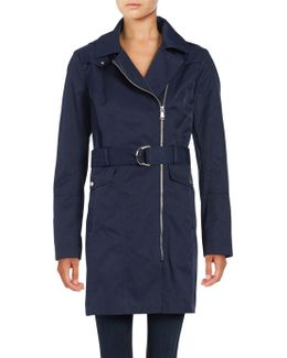 ?removable Hood Zip-up Trench Coat