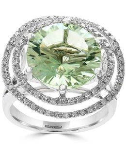 Diamond, Green Amethyst And 14k White Gold, 0.38 Tcw